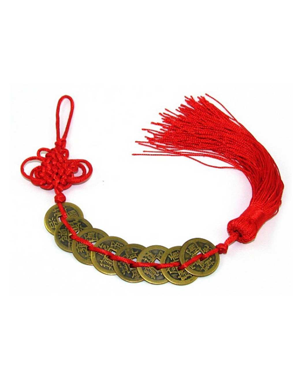 """8-kineskih-novčića-povezanih-crvenom-trakom-(s-""""beskonačnom""""-petljom)"""